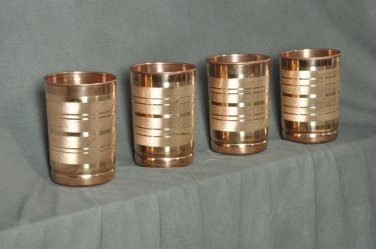 DESIGNER PURE COPPER WATER STORAGE DRINKING TUMBLERS GLASSES 4 PCS. SET CUPS