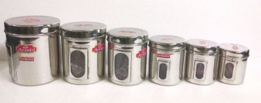STAINLESS STEEL GRAINS SPICES TEA COFFEE STORAGE CANISTERS SEE THROUGH 6 PC SET
