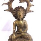 BRASS DHYANA STATUE OF LORD GAUTAMA BUDDHA BODHI TREE ENLIGHTENMENT BUDDHISM