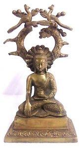 BRASS DHYANA STATUE OF LORD GAUTAMA BUDDHA BODHI TREE ENLIGHTENMENT BUDDHISM