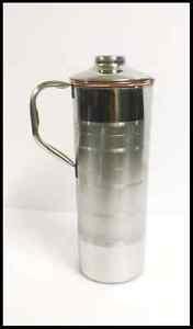 PURE COPPER WATER STORAGE DRINGKING FRIDGE BOTTLE JUG PITCHER SLIM 700 ML JUG