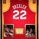 Premium Framed Clyde Drexler Autographed Houston Rockets Jersey - JSA COA