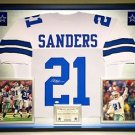 Premium Framed Deion Sanders Autographed Dallas Cowboys Jersey - JSA COA