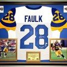 Premium Framed Marshall Faulk Autographed Rams Jersey - JSA COA