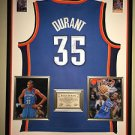 Framed Kevin Durant Autographed Adidas Authentic Thunder Jersey Signed JSA COA