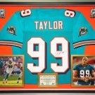 Premium Framed Jason Taylor Autographed / Signed Miami Dolphins Jersey - JSA COA