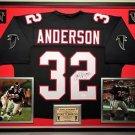 Premium Framed Jamal Anderson Autographed Atlanta Falcons Jersey - JSA COA