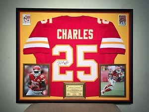 Premium Framed Jamaal Charles Autographed Chiefs Jersey Signed JSA COA