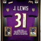 Premium Framed Jamal Lewis Autographed Baltimore Ravens Jersey - JSA COA