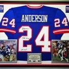 Premium Framed Ottis Anderson Signed & Inscribed New York Giants Jersey - JSA COA