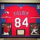 Premium Framed Prince Fielder Autographed Rangers Majestic Jersey Signed JSA COA