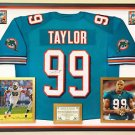 Premium Framed Jason Taylor Autographed Miami Dolphins Jersey - JSA COA