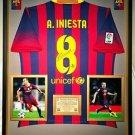 Premium Framed Andres Iniesta Autographed Barcelona Jersey PSA/DNA COA