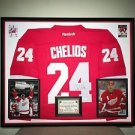 Premium Framed Chris Chelios Signed Reebok Authentic Red Wings Jersey JSA COA
