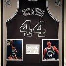 Premium Framed George Gervin Autographed / Signed San Antonio Spurs Jersey - JSA COA
