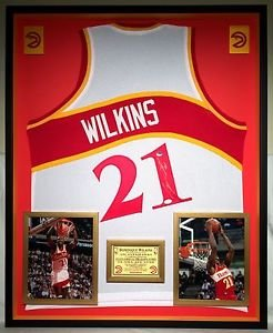 Premium Framed Dominique Wilkins Autographed Signed Atlanta Hawks Jersey - JSA