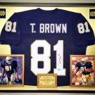 Premium Framed Tim Brown Autographed / Signed Notre Dame Jersey - Tristar COA