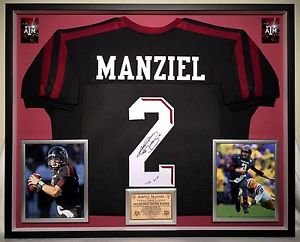 Premium Framed Johnny Manziel Autographed / Signed Texas A&M Aggies Jersey - JSA COA