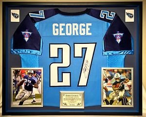 Premium Framed Eddie George Autographed / signed Titans Jersey JSA COA