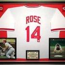 "Premium Framed Pete Rose Autographed / Signed ""HIT KING"" Cincinnati Reds Jersey JSA COA"