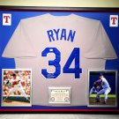 Premium Framed Nolan Ryan Signed Rangers Authentic Mitchell & Ness Jersey JSA