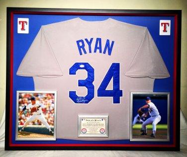 Premium Framed Nolan Ryan Signed Rangers Authentic Mitchell & Ness Jersey JSA