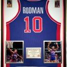 Premium Framed Dennis Rodman Autographed Detroit Pistons Jersey PSA COA