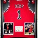 Premium Framed Derrick Rose Autographed / Signed Chicago Bulls Jersey --- GA COA