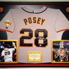 Premium Framed Buster Posey Autographed Giants Majestic Jersey Signed - GA COA