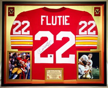 Premium Framed Doug Flutie Autographed Boston College BC Eagles Jersey - Schwartz COA