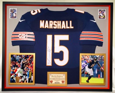 Premium Framed Brandon Marshall Autographed Bears Chicago Bears Nike Jersey - GA COA