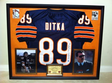 Premium Framed Mike Ditka Autographed Chicago Bears Jersey - Leaf COA