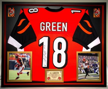 Premium Framed AJ Green Autographed Bengals Jersey - GA COA - A.J. Green