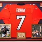 Premium Framed John Elway Autographed Denver Broncos Jersey - Official Elway Hologram COA