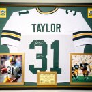 Premium Framed Jim Taylor Autographed Green Bay Packers Jersey - GA COA
