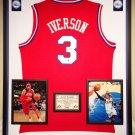 Premium Framed Autographed Allen Iverson 76ers Adidas Jersey - GA COA
