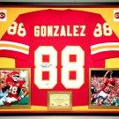 Premium Framed Tony Gonzalez Autographed Kansas City Chiefs Jersey - GA COA