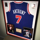 Premium Framed Autographed Carmello Anthony New York Knicks Jersey - GA COA