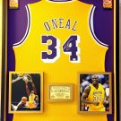 Premium Framed Autographed Shaquille O'neal Los Angeles Lakers Adidas Jersey - GA COA - Shaq Oneal
