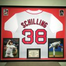 Premium Framed Curt Shilling Autographed Red Sox Jersey - Leaf COA - kurt redsox