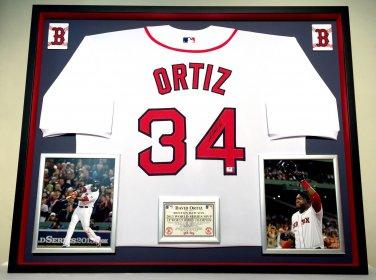 Premium Framed David Ortiz Autographed Red Sox Jersey - GA COA - Redsox