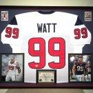Premium Framed J.J. Watt Autographed Houston Texans Jersey - GA COA - JJ Watt