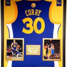 Premium Framed Autographed Stephen Curry Golden State Warriors Adidas Jersey - GA COA