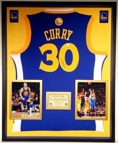Premium Framed Autographed Stephen Curry Golden State Warriors Adidas Jersey - GA COA