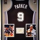Premium Framed Tony Parker Autographed / Signed San Antonio Spurs Jersey - GA COA