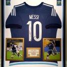 Premium Framed Lionel Messi Autographed Official Adidas Argentina Soccer Jersey Shirt - GA COA