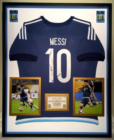 Premium Framed Lionel Messi Autographed Official Adidas Argentina Soccer Jersey Shirt - GA COA