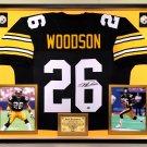 Premium Framed Rod Woodson Autographed Steelers Jersey - Leaf COA