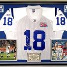 Premium Framed Peyton Manning Autographed / Signed Reebok Super Bowl XLI Colts Jersey - GA COA