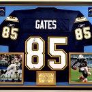 Premium Framed Antonio Gates Autographed Chargers Reebok Jersey - GTSM Official Gates Holo + GA COA
